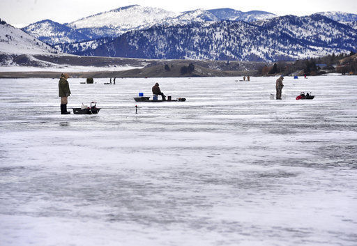 Ice fishing for perch is hot at Holter Lake
