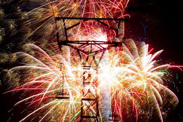 The fireworks finale at the New Years Eve celebration at Great Divide Ski Area.