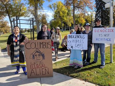 Helenans demonstrate near Capitol for Indigenous Peoples Day (copy)