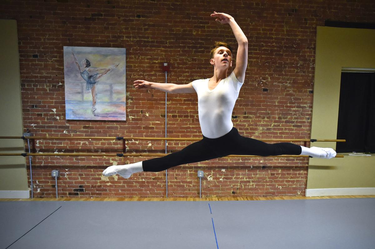 Josh Fisk, a sophomore at Helena High, rehearses recently at Queen City Ballet