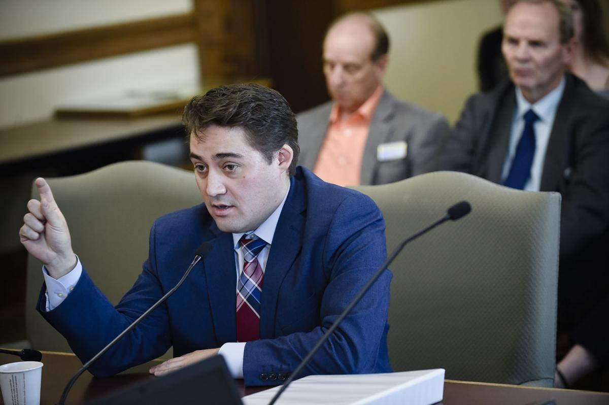 Dan Villa, budget director for the Governor's Office, gives a presentation to the Legislative Finance Committee Wednesday morning at the State Capitol.