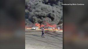 Massive fire breaks out at a crude oil pipeline in Egypt