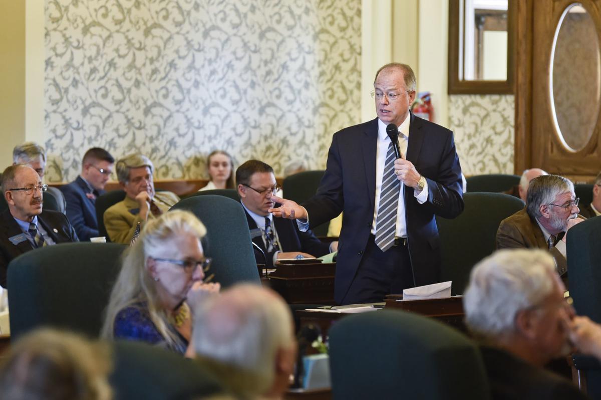 Senate Majority Leader Fred Thomas, R-Stevensville, speaks on the Senate floor