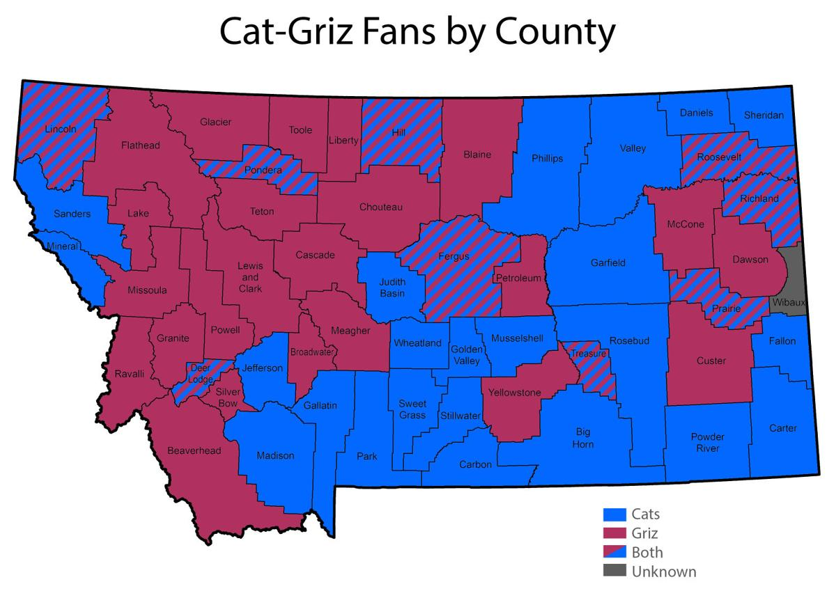 Cat-Griz Fans by County