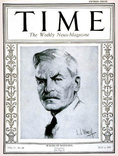 Sen. Thomas Walsh on cover of Time, 1925