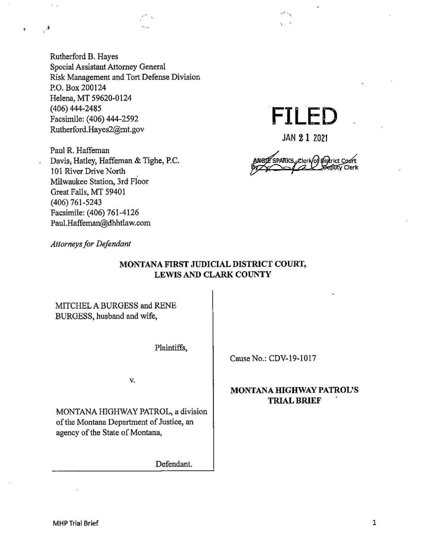 Montana Highway Patrol trial brief