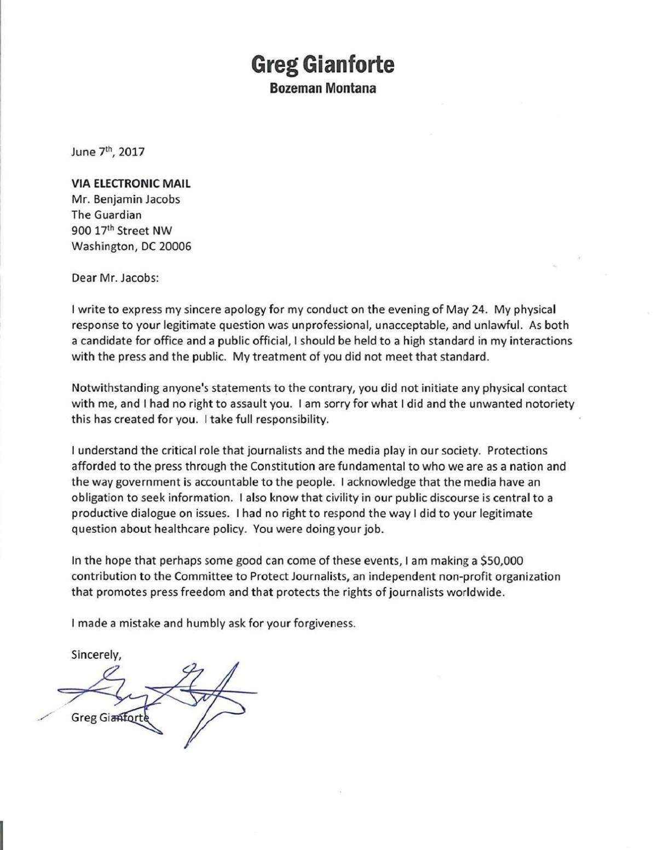 Gianforte letter