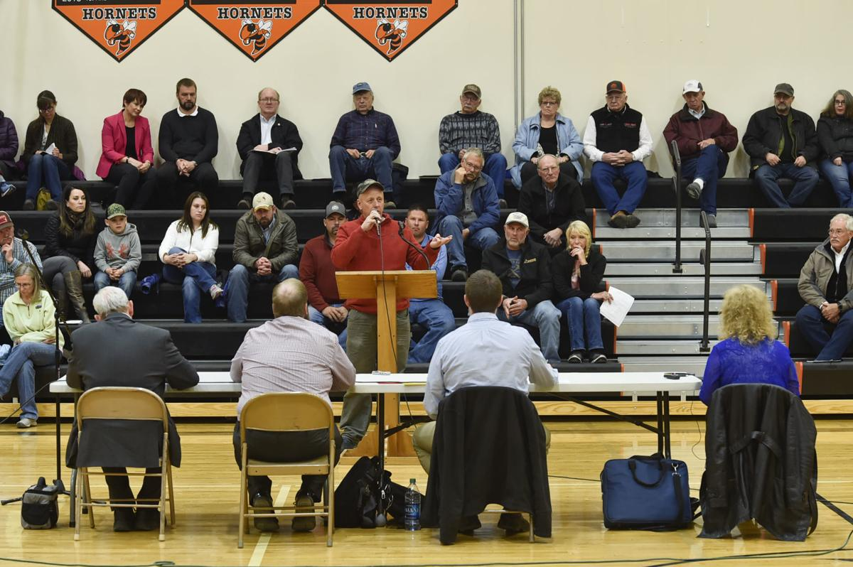 Meagher County residents take turns Tuesday speaking