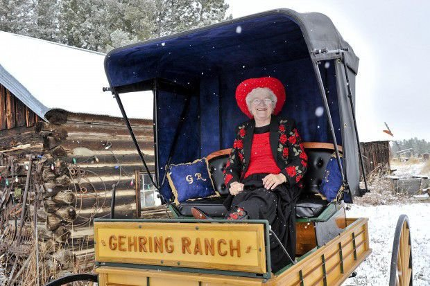 Rose Vincent Gehring sits in the newly rebuilt buggy