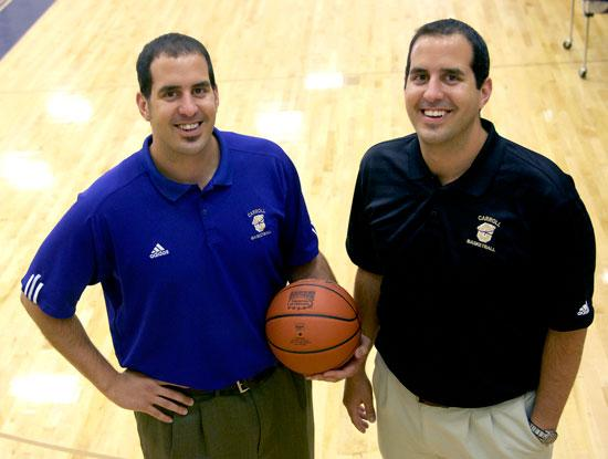 Carroll College men s head basketball coach Brandon Veltri, left,poses with  identical twin and new assistant coach Brock Veltri in the Carroll P.E.  center ... 53d273afd07
