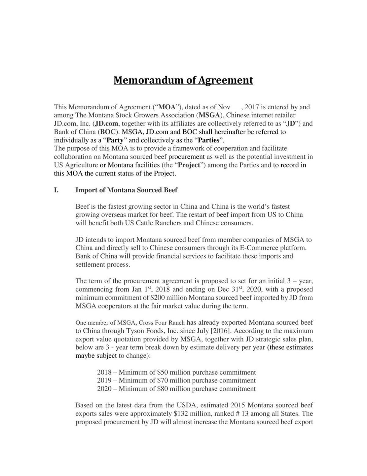 Stockgrowers agreement with JD.com