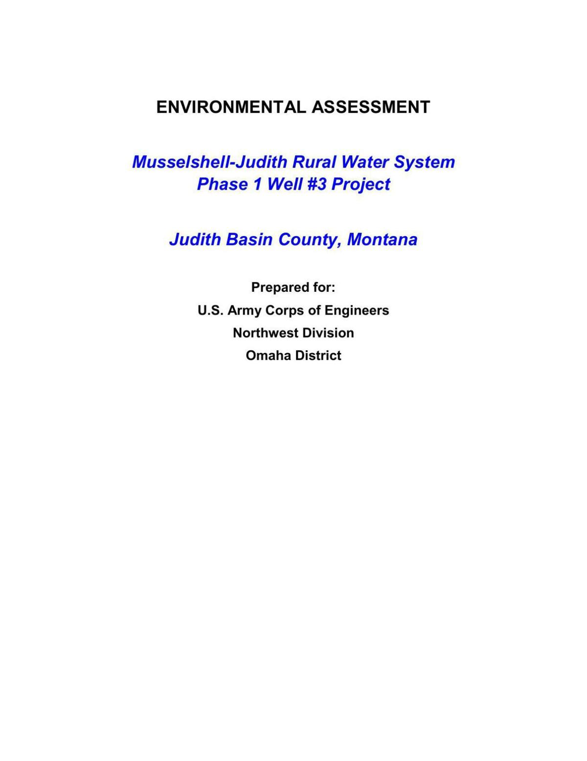 Environmental assessment for well