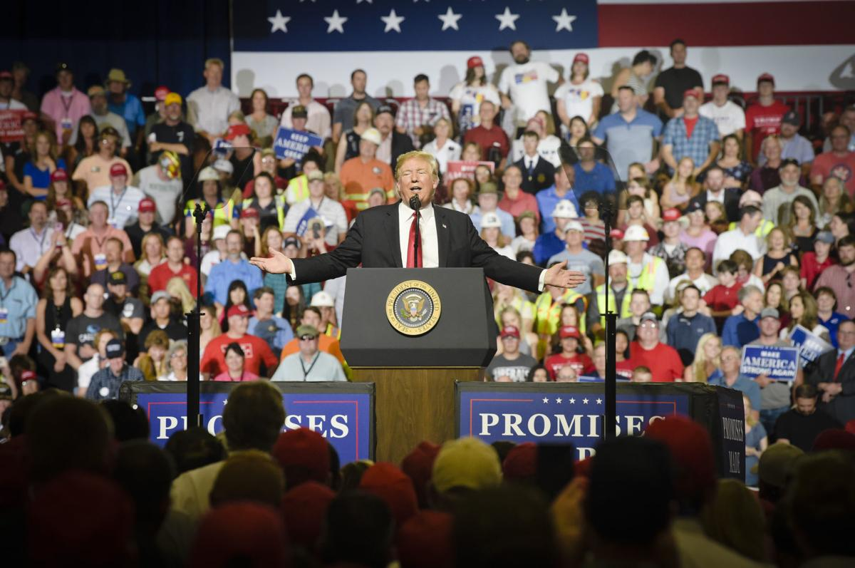 President Donald Trump speaks during a rally