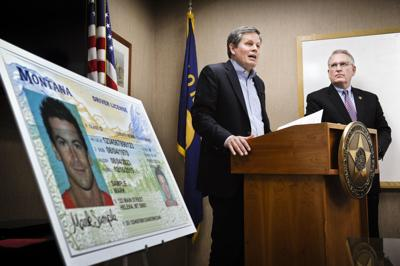 Senator Steve Daines, R-Mont., flanked by Montana Attorney General Tim Fox, discusses Montana's noncompliance with the federal REAL I.D.