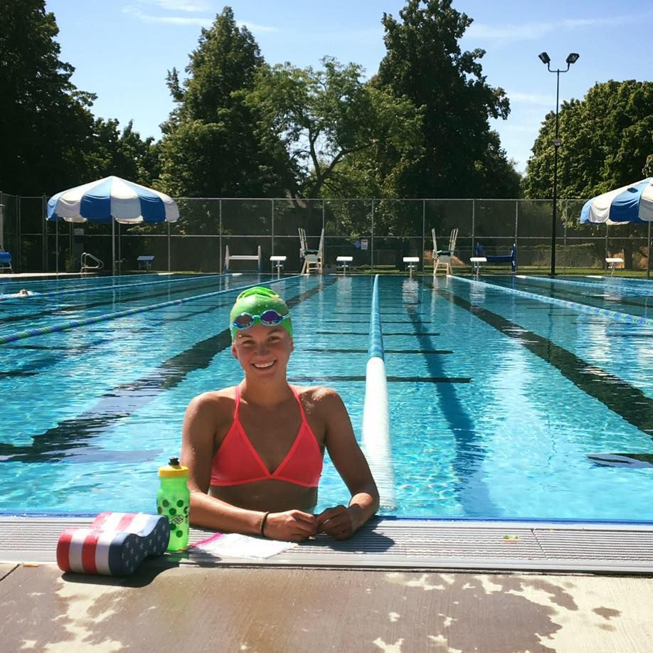 Erika Ackerlund poses during a training session at a Missoula pool