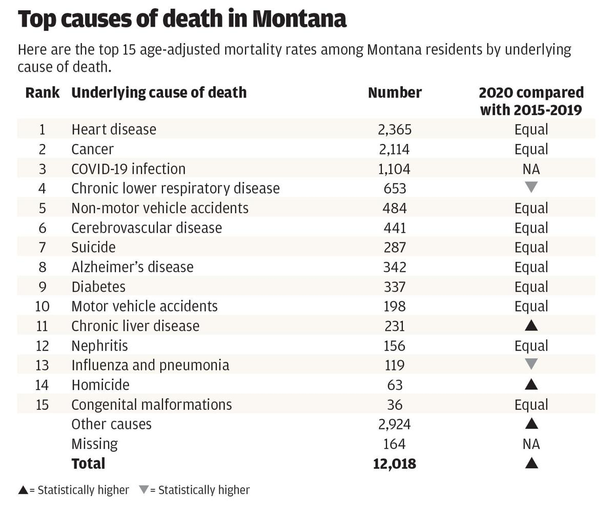 Top causes of death in Montana