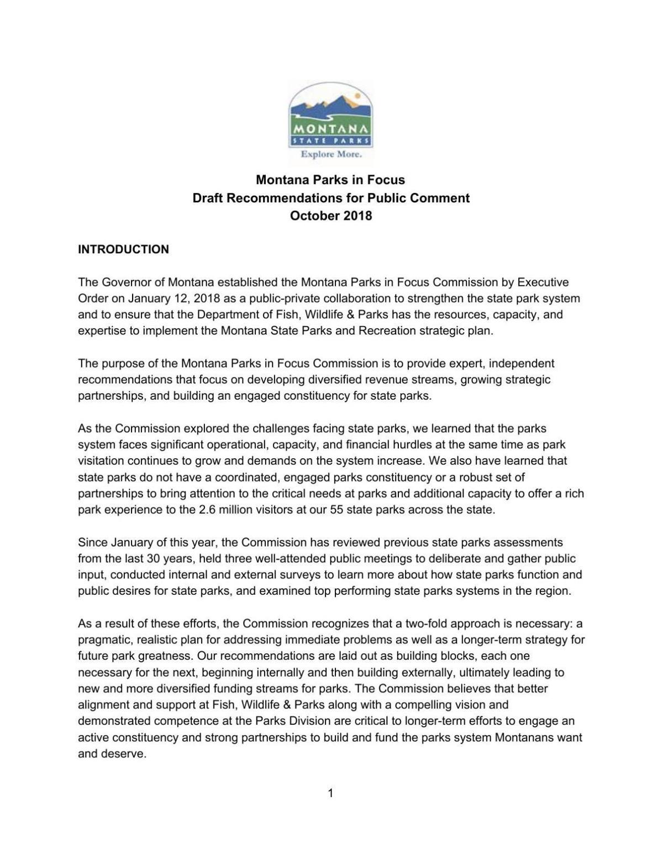 Parks in Focus Draft Report | Outdoors | helenair com