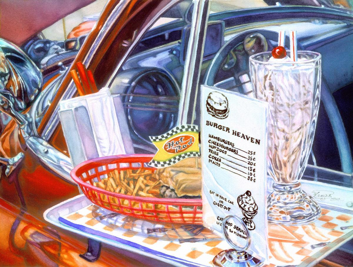 vivid car watercolors by Gordon Zuelke