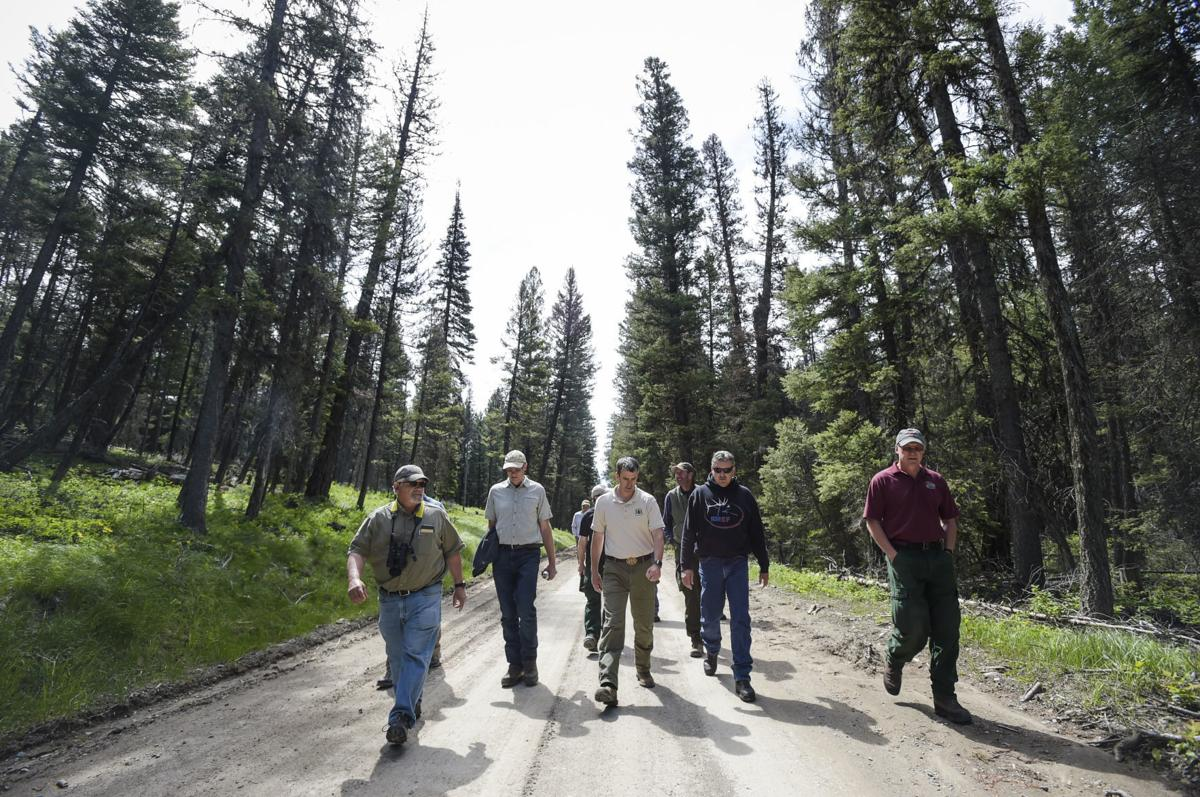 Lincoln District Rnage Michael Stansberry, center, leads a tour along Beaver Creek Road,