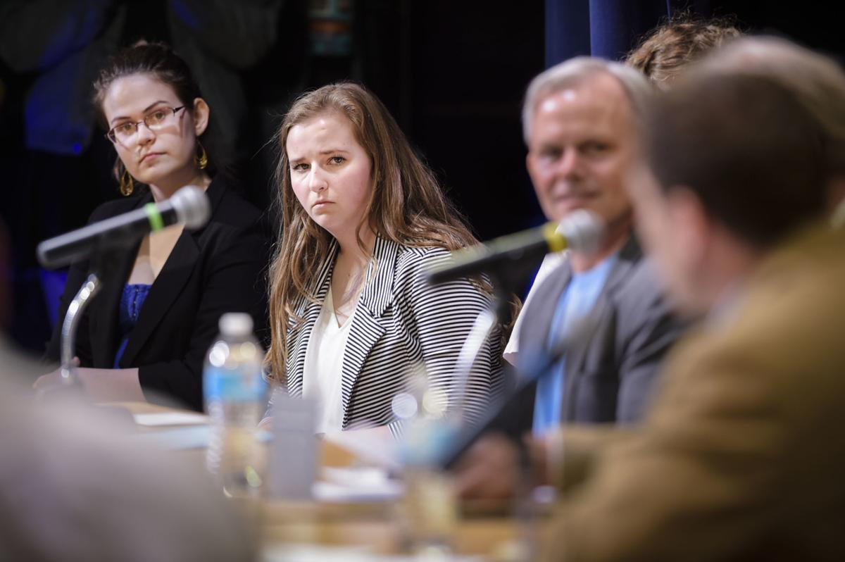Moderators from Helena Youth Against Gun Violence Amalie Hodges, left, and Amanda Penley, center,