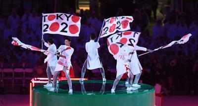 Performers promote the 2020 Tokyo Games during the Closing Ceremony for the Rio Olympic Games on August 21, 2016, in Rio De Janeiro, Brazil.
