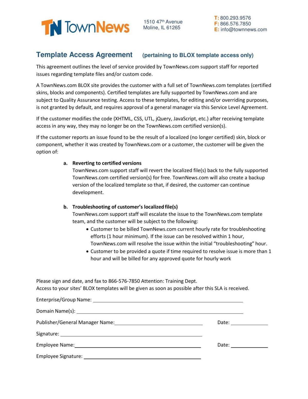 BLOX Templates - Template access agreement