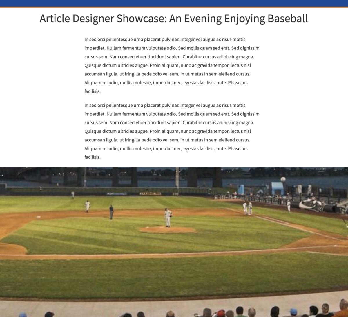 Article Designer example #1: An Evening Enjoying Baseball