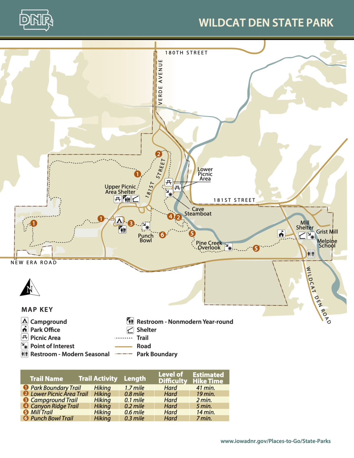 Wildcat Den State Park Map