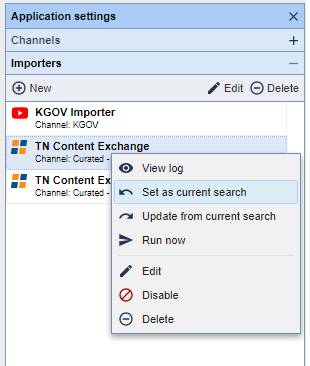 """TownNews Content Exchange Importer - """"Set as current search"""""""