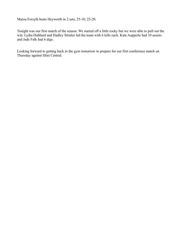 Volleyball: Maroa-Forsyth def. Heyworth 25-18, 25-20