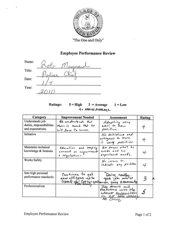 Maynard Perfromance Evaluations