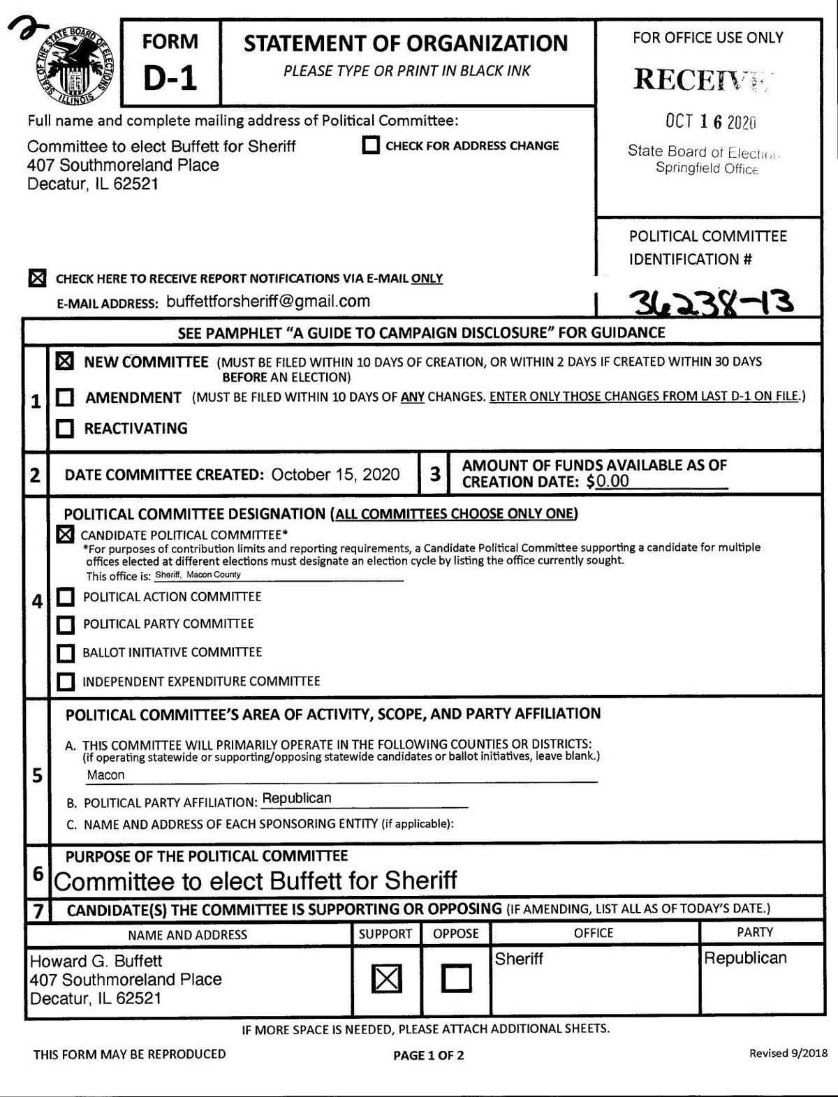 View the Committee to elect Buffett for Sheriff paperwork