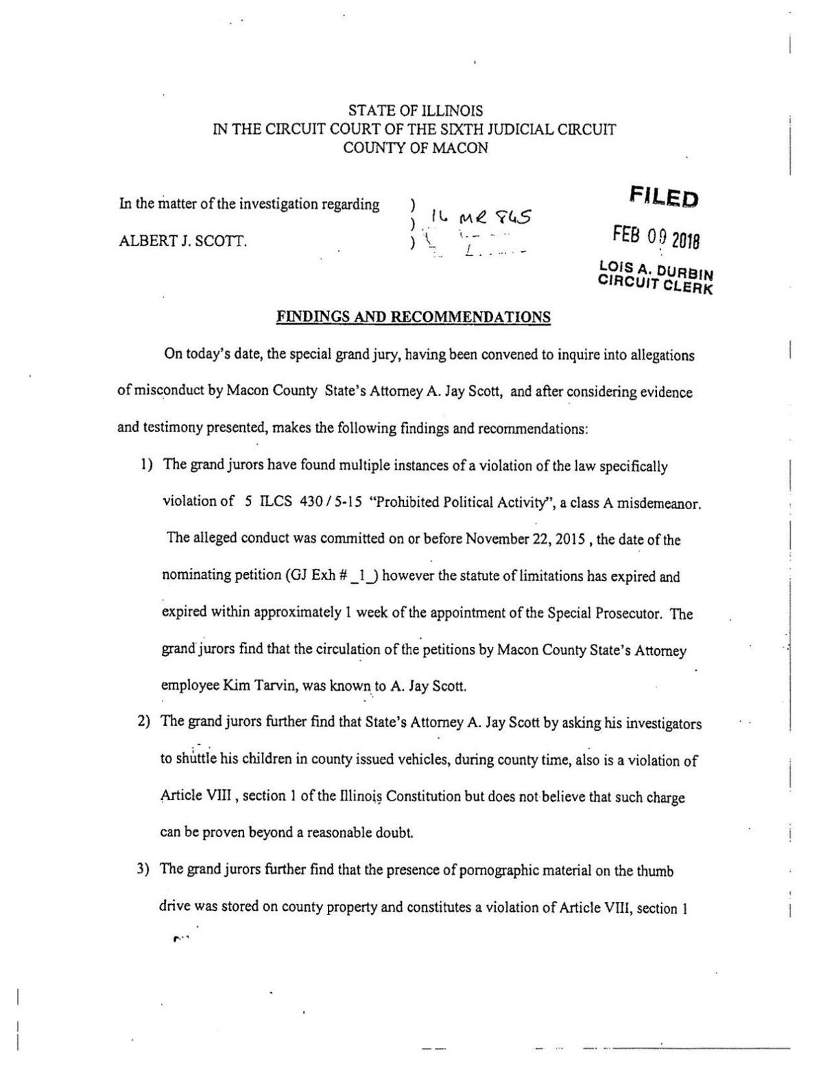 Grand Jury Findings - Feb. 9