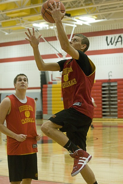 Warrensburg-Latham's Cody Huggins and Keith Owens