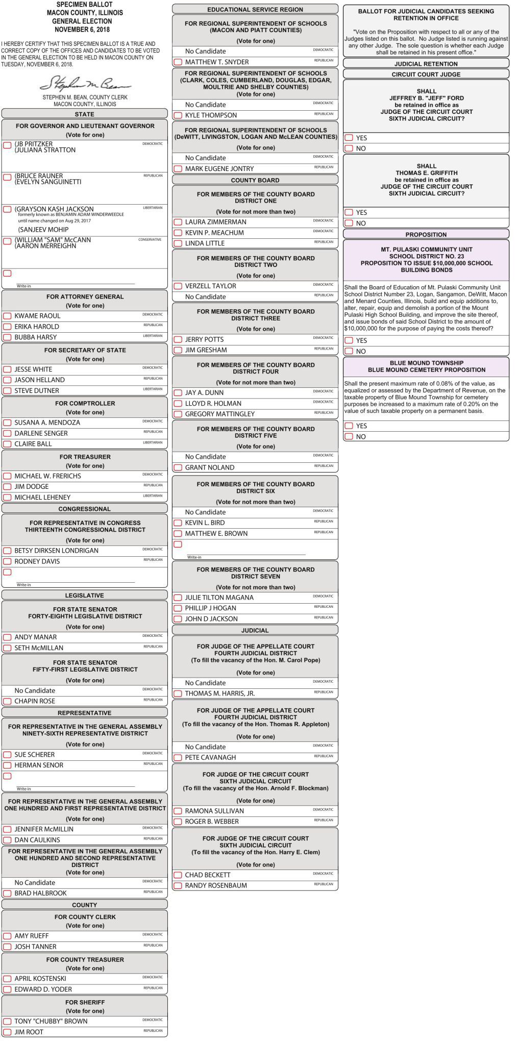 Darien: this is what your ballot will look like in november.