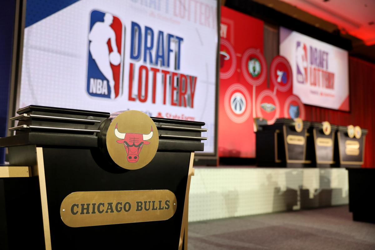 The stage is set prior to the 2019 NBA Draft Lottery at the Hilton Chicago on Tuesday, May 14, 2019.