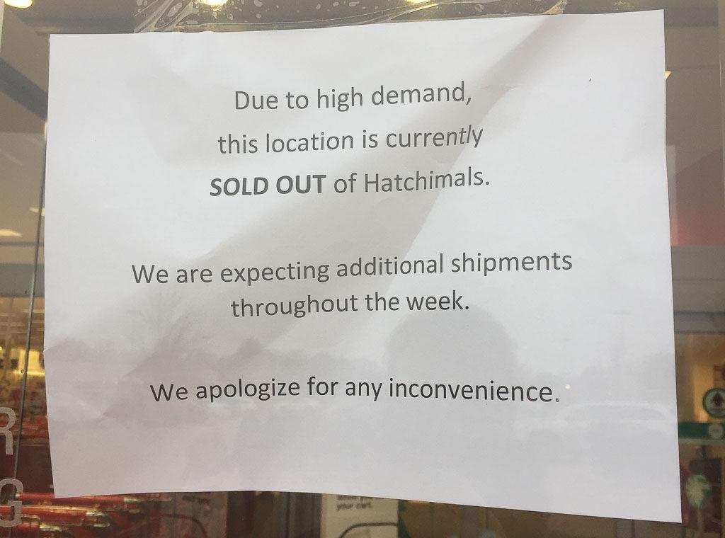Hatchimals sign