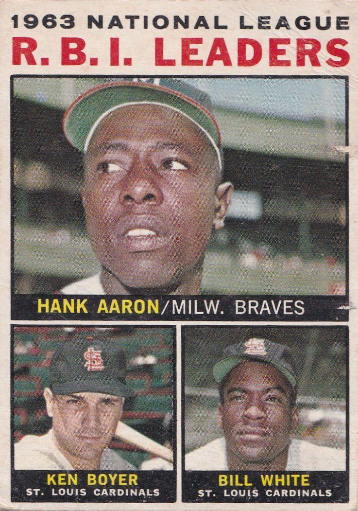 1964 Topps No.11 - Hank Aaron, Ken Boyer and Bill White