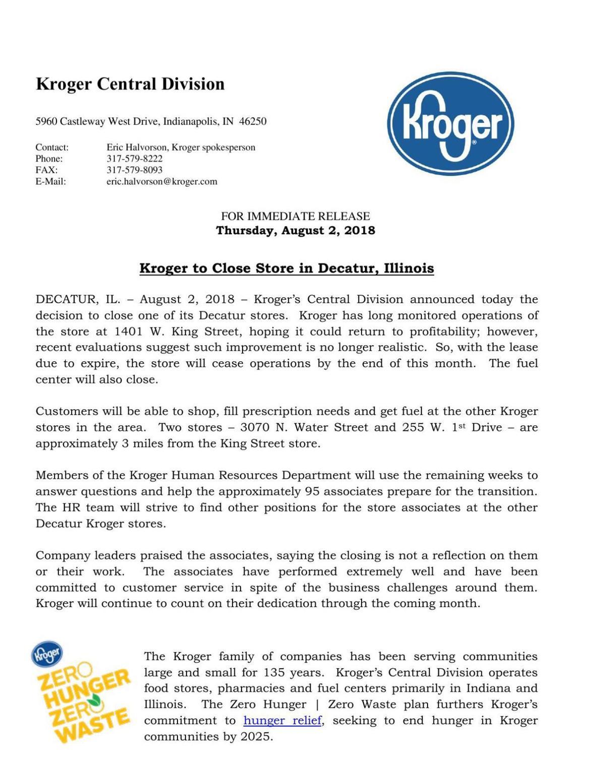 Kroger press release