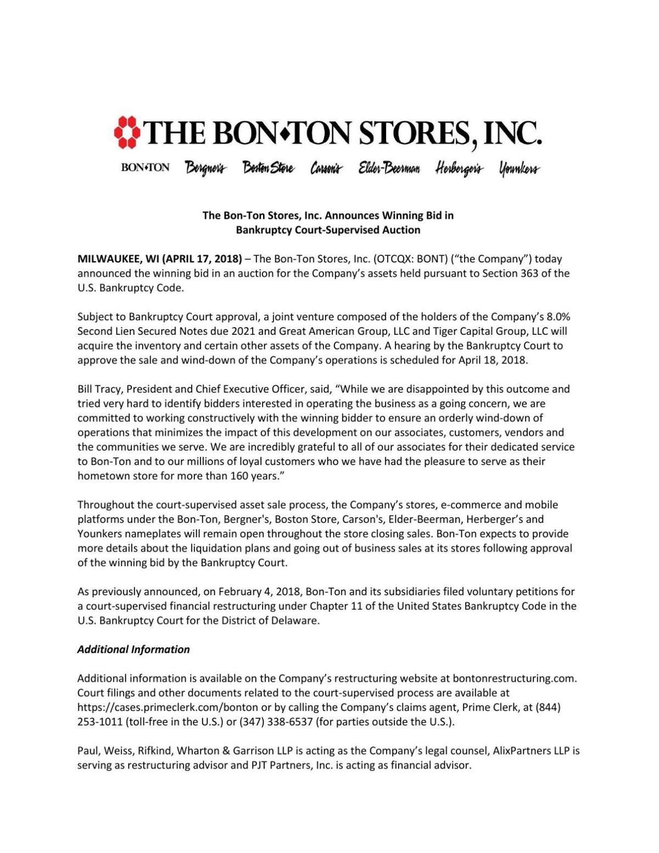 Bon-Ton news release