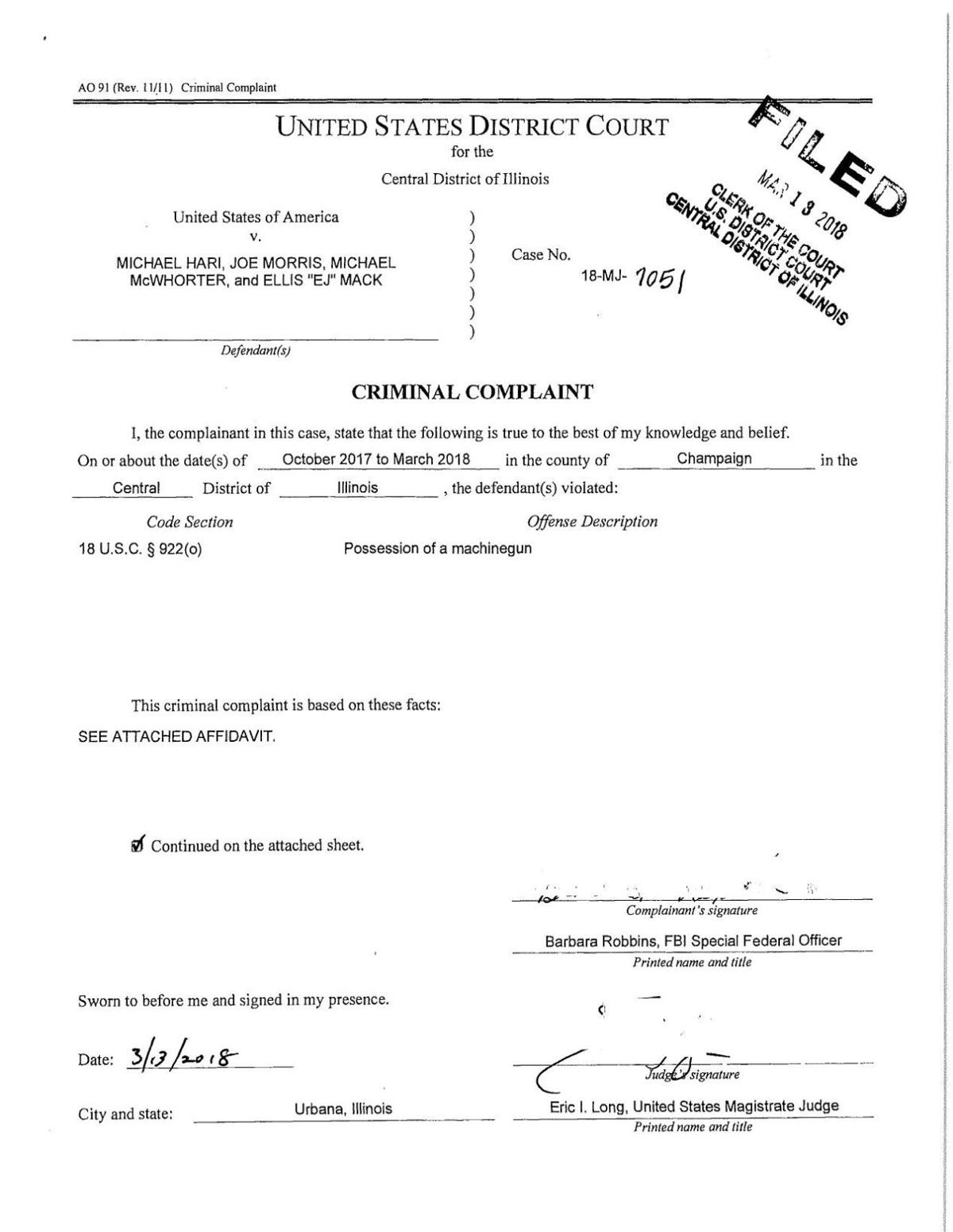 Federal weapons complaint