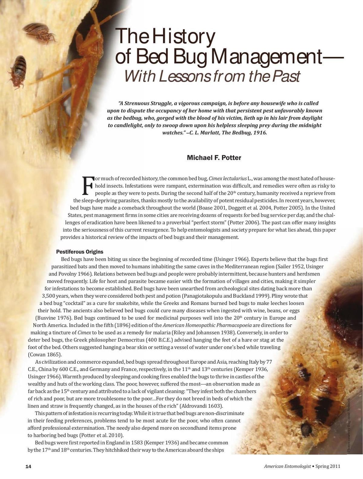 Bed Bug Management History