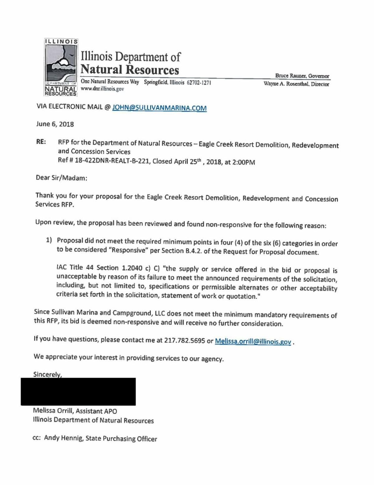 Eagle Creek Proposal Rejection Letter