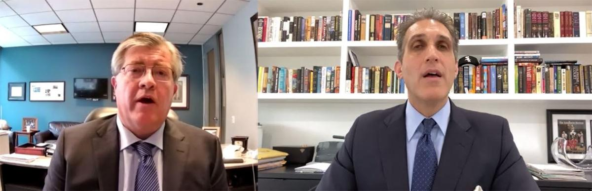Attorneys Stephan Blandin (left) and Adam Levitt discuss a class action lawsuit against utility giant Commonwealth Edison for rates it charged customers through laws enacted as a result of the company's bribery scheme. They spoke during a virtual news conference Tuesday.