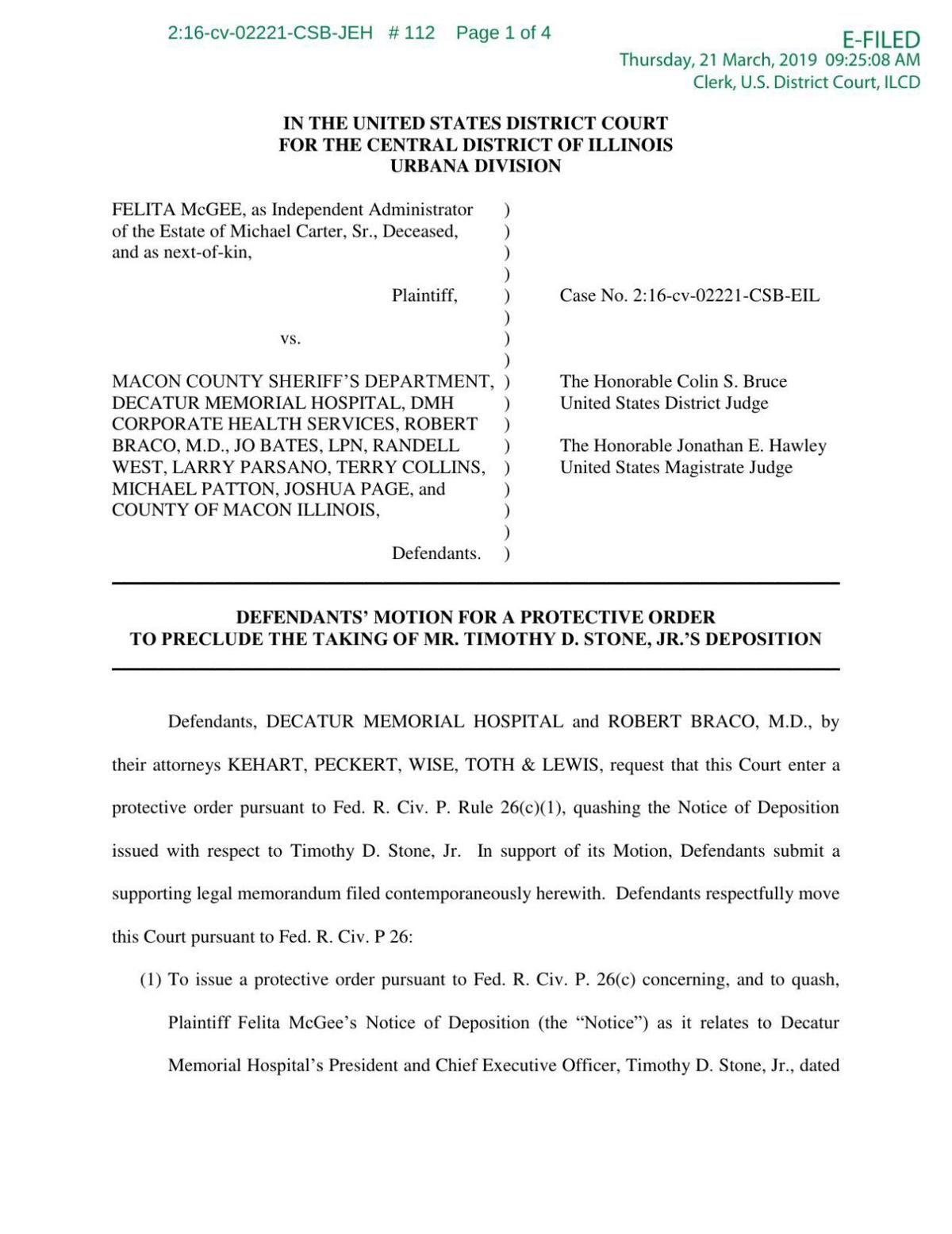Motion to Preclude Tim Stone Deposition - 3/21/2019