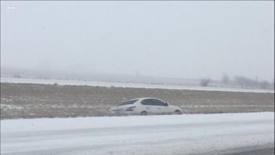 car in ditch I-72 east
