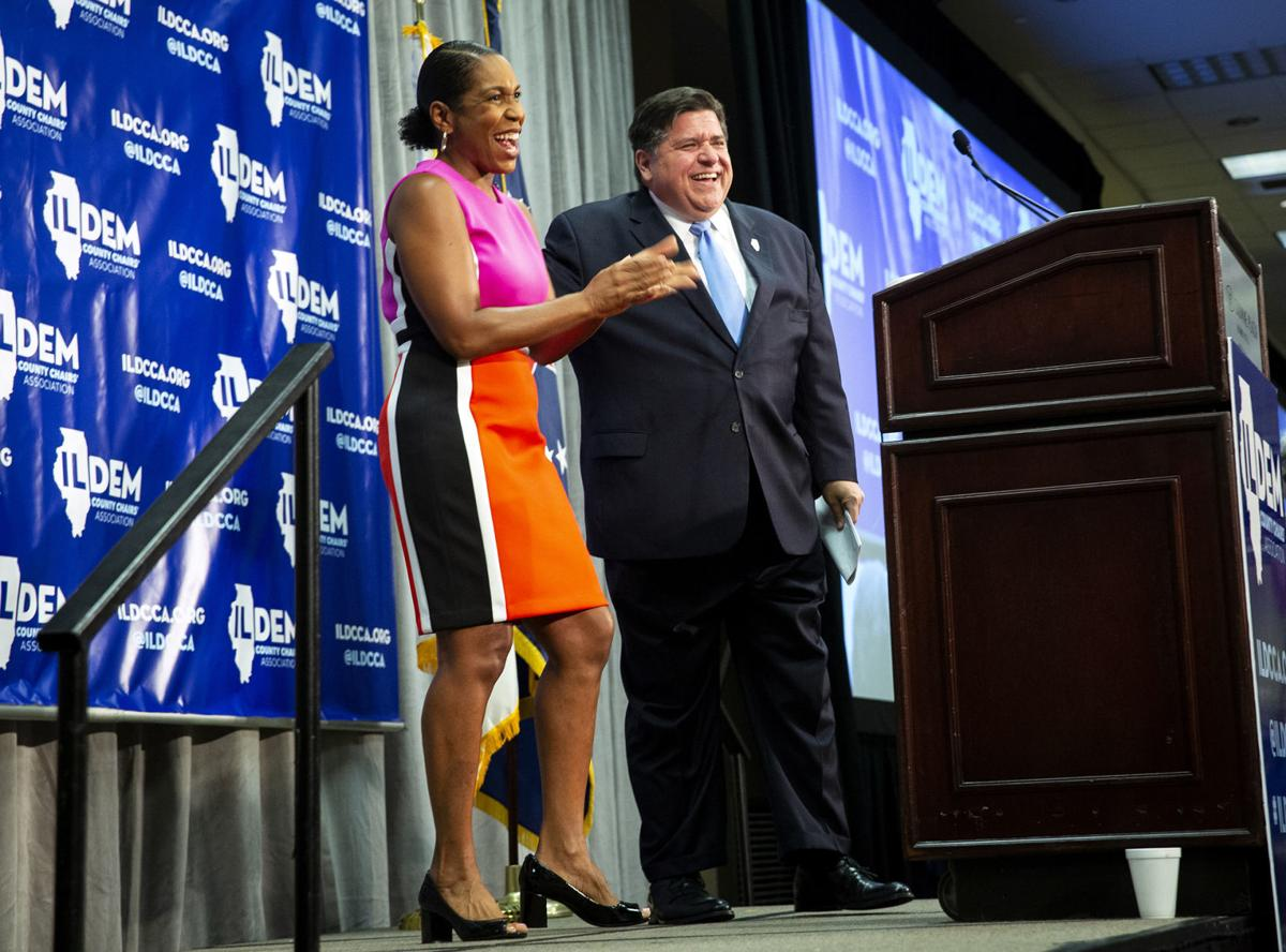 J.B. Pritzker and Juliana Stratton