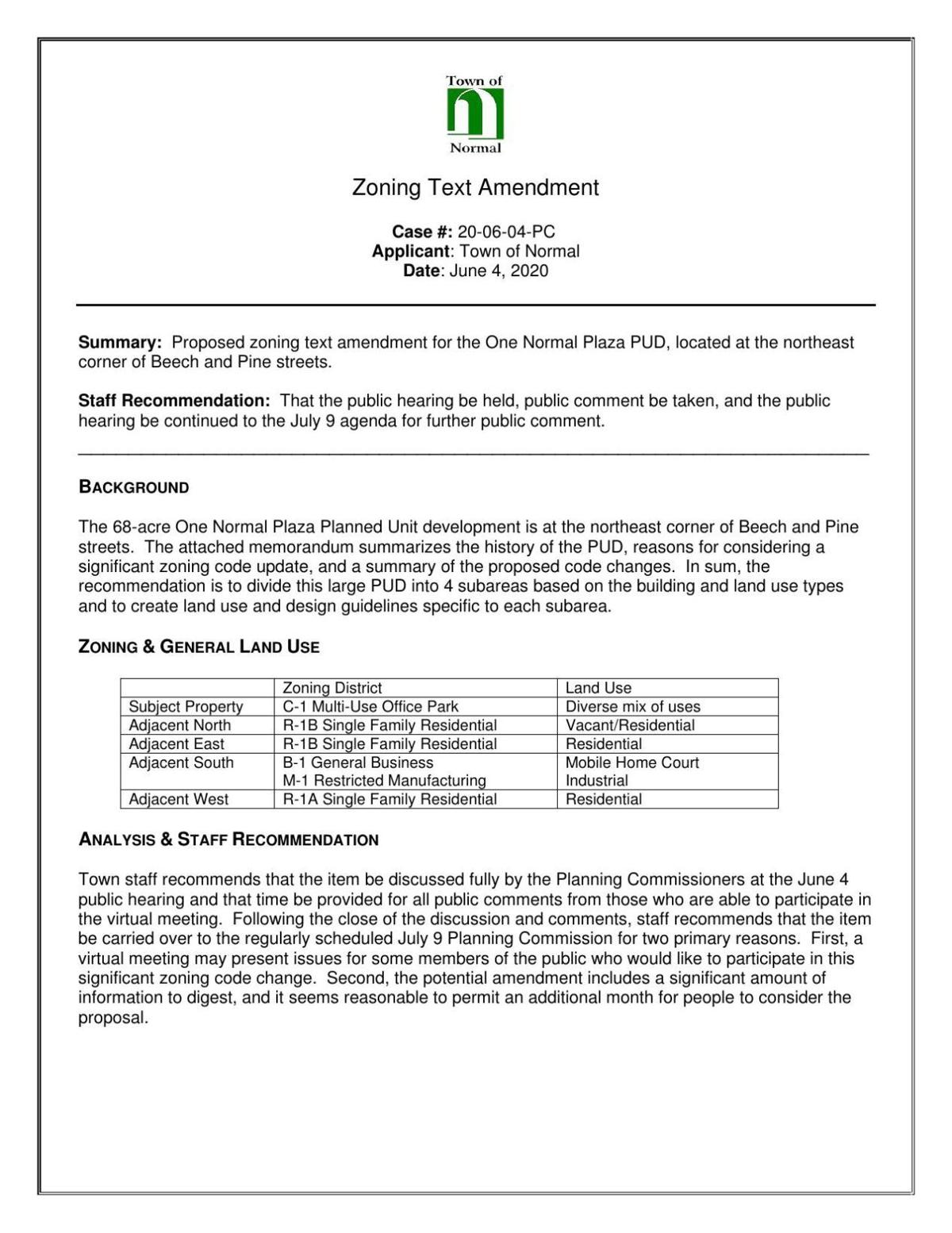 Proposed One Normal Plaza Zoning Text Amendment