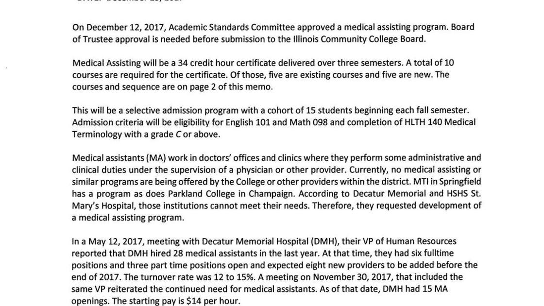 Medical Assisting Program Memo Herald Review