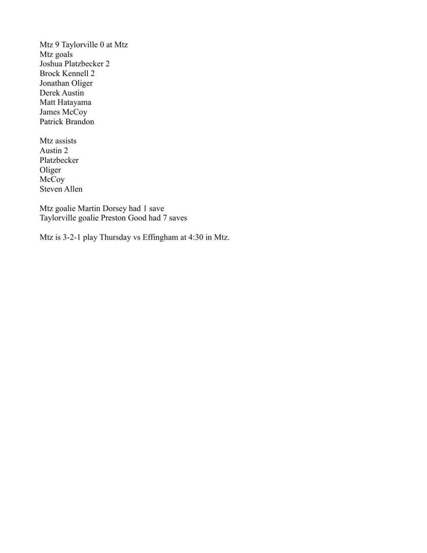 Boys Soccer: Mount Zion 9, Taylorville 0